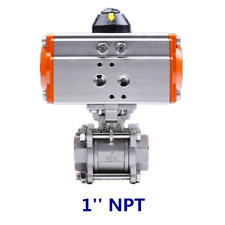 """1"""" Inch DN 25 NPT Double Acting Air Actuated 304 Stainless 3 Pieces Ball Valve"""