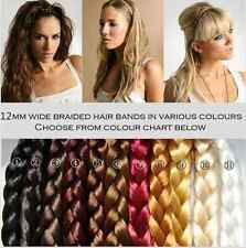 Ladies Braided Synthetic Hair Plaited Plait Elastic Hairband Many Colors 12MM