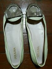 PRADA WOMEN'S OMBRE LEATHER BOW FLATS - YELLOW BEIGE, SIZE EU 39/US 9