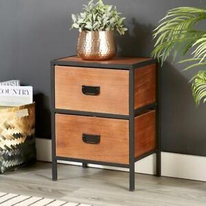 Retro Wooden Dark Brown Side Table or Bedside Cabinet 2 Drawer Metal Handles