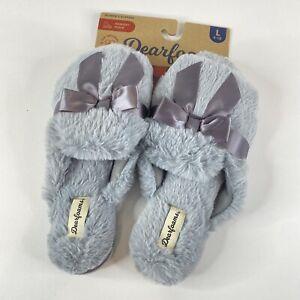 Dearfoams Womens Blue Cozy Fluffy Fur Bow Comfort Open Toe Slip On Slipper