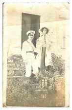 Antique military RPPC postcard British Soldier in drag company play portrait