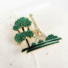 Oil-drip Tree Building Eiffel Tower Brooches Cute Pin Suits Hat Pin Scarf Buckle