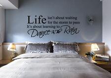 Life Isn't About Waiting Dance in The Rain Wall Art Wall Sticker UK  SH118