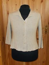 PER UNA M&S light beige oatmeal knitted 3/4 sleeve cardigan jumper top 18 46