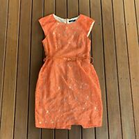 Jo Borkett Size 10 Shift Pencil Dress Orange Lace W Belt Business Cocktail