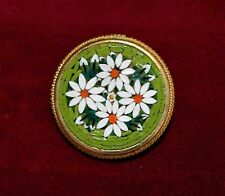 Vintage Murano Italy Micro Mosaic White Flower Pin Italian Glass Brooch 717