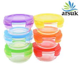 Glass Bowl Set 200ml 6pcs Round Food Storage Stackable With Colour Airtight Lids