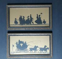Vintage  E.J.S.M & CO.1931 Silhouettes Western Scene Panorama,set of 2. No. 2396