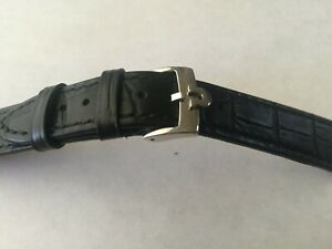 18mm Black Leather Band with  Stainless Steel  Buckle For Omega Watch