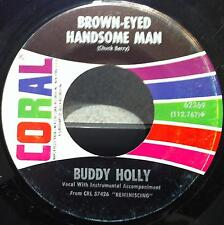 """BUDDY HOLLY brown eyed hansome man - wishing 7""""  VG CORAL 62369 Vinyl  Record"""