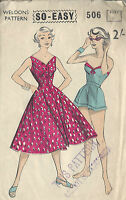 1950s Vintage Sewing Pattern B36 SHORTS SUN TOP & DRESS (1014)