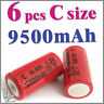 6 pcs C size 1.2V 9500mAh Ni-MH Rechargeable Battery Cell Red