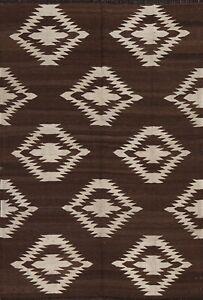 Natural Dye Geometric Kilim Afghan Oriental Area Rug Reversible Hand-Woven 5x7