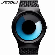 SINOBI Men Fashion Sport Watches  For Black Strap Blue Rotate Quartz Watches