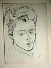 Charcoal Portrait - early Jean Cocteau Drawing