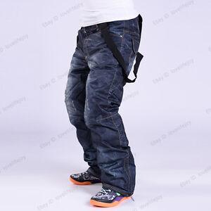 Winter Sport Waterproof Men's Denim Snow Ski Pants Trousers Windproof Salopettes