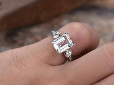 2ct Emerald Cut Diamond Antique Solitaire Engagement Ring 14k White Gold Over