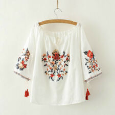 Women Summer Flower Embroidery Blouse Middle-length Sleeves Casual Loose Top