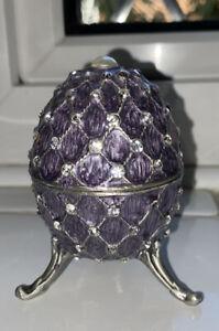 NEW M&S Purple Egg Diamonte Quilt Design Hinged Trinket Jewellery Storage Box