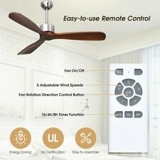 "New 52"" Modern Brushed Nickel Finish Wood Blade Ceiling Fan with Remote Control"