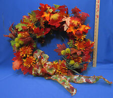 Thanksgiving Fall Autumn Wreath Maple Oak Leaves Leaf Artificial Silk Red Orange