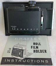 Graflex Graphic 23 6x9cm 120 Roll Film Back for 4x5 View Camera w/Box & Instruc.