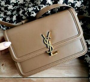 Yves Saint Laurent Solferino Medium Satchel In Box Leather Shoulder Bag Brown