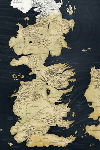 Game Of Thrones Map Of Westeros Antique Print Wall Art Home Decor - POSTER 24x36