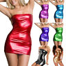 Sexy Women Solid Sleeveless Slash Neck Tight-fitting Leather Bodycon Mini Dress