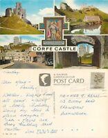 s05462 Corfe Castle, Dorset, England Salmon postcard posted 1988 stamp