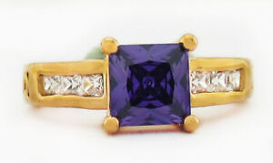 PURPLE 1.58 Cts AMETHYST & SAPPHIRE RING 14K ROSE GOLD PLATED SILVER NWT Size 5