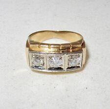 ~ 1.10 Carats (6.9 grams, size 6.5+) Vintage 14K Yellow Gold Ring w/ 3 Diamonds