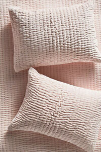 NEW Anthropologie Kantha-Stitched Velvet Single Pink Sham