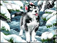 Margot de Paris Tapicería / Bordados Lienzo - Perro en La Nieve ( Cache Neige )