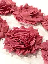 "1/2 yard mauve 2.5"" shabby chiffon rose trim flowers DIY baby headband"