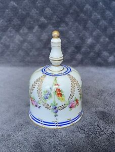 RARE 19th Century Antique Sevres Style French Floral Gilt Porcelain Dinner Bell