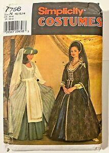 SIMPLICITY COSTUME PATTERN 7756 Theater Reenactment Medieval DRESS 10-14 UNCUT!