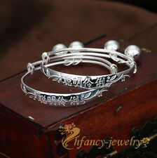 "1pair Adjustable Children Baby kids' Silver ""Chinese knot"" Bell Bracelet Bangles"