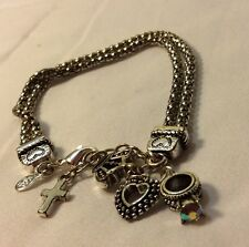 PREMIER DESIGNS Silver Tone Hostess Charm Bracelet Heart Crown Cross Ring 7""
