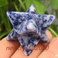 Natural blue spot Merkaba Star carved quartz Crystal skull point healing 1pc