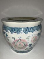 "Vintage Fish Bowl Planter Asian Hand-painted Floral Ceramic 8.5"" Tall X 10"" Wide"