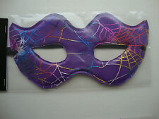 Halloween Eye Mask Fancy Dress Party Mask Purple with Shiny Cobwebs Masked Ball