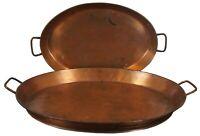 "2 Large Copper Oval Butlers Serving Trays w/ Handles Tea Bar Platter 24"""