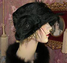 1920S VINTAGE STYLE PETITE BLACK VELVET FUR FLOWER FEATHER CLOCHE FLAPPER HAT