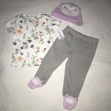 Carter's Owl Three Pieces Outfit Set 6 Months Footed Pants Hat Shirt NWT {E6}