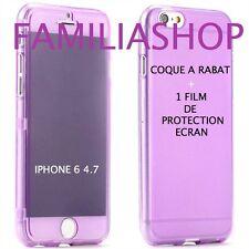 Housse étui pochette coque rabat silicone violet iphone 6 4.7 + 1 film