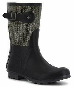 Classic Mid Cafe Racer Herringbone Waterproof Rain Boot, Pick a Size