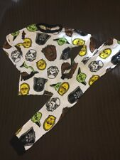 Star Wars Pajamas Size 10 Boys 2 Piece Jersey Knit White EUC