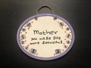 MOTHER YOU MAKE LIFE MORE BEAUTIFUL Ceramic Wall Hanging W/ Butterflies & Hearts